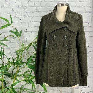 Caslon Olive Green Cardigan Sweater w/ Wide Lapel